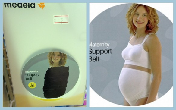 "Saudi censorship makes this look like a VERY ""supportive"" maternity belt. Saudi censored on left. Original product image (from online sources) on right."